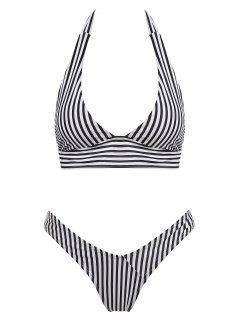 Halter Striped High Cut Thong Bikini Set - Black L