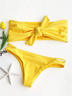 Ribbed Knot Bandeau Bikini Set - Yellow L