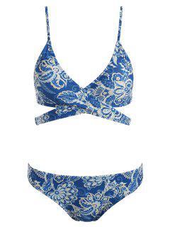 Floral Print Padded Wrap Bikini Set - Blue Eyes L
