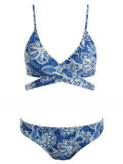 Floral Print Padded Wrap Bikini Set - Blue Eyes S
