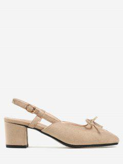 Bow Front Square Toe Pumps - Apricot 40