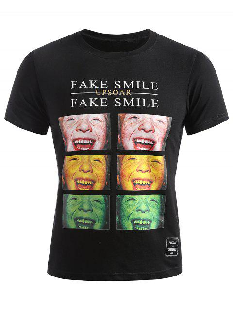 Smile Face Photos T-shirt d'été - Noir M Mobile