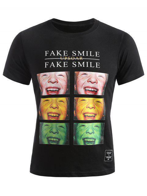 Smiled Face Photos camiseta de verano - Negro L Mobile