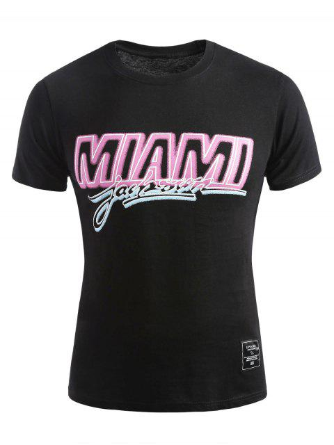 fashion Short Sleeve Miami T-shirt - BLACK 2XL Mobile