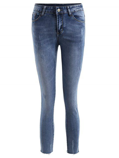 ladies Frayed Distressed Ninth Jeans - DENIM BLUE S Mobile