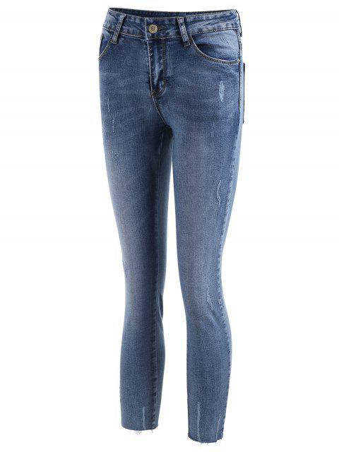 outfits Frayed Distressed Ninth Jeans - DENIM BLUE XL Mobile