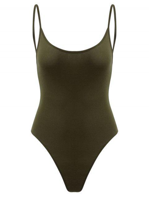 Druck Knopf Rückenfreier Bodysuit - Farngrün M Mobile