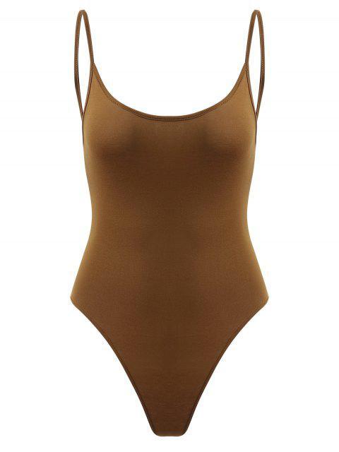 lady Snap Button Open Back Bodysuit - DARK GOLDENROD S Mobile