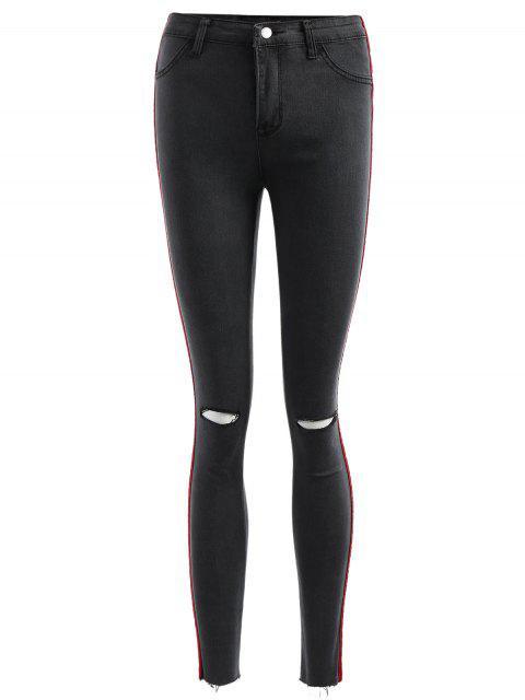online Velvet Panel Ripped Jeans - CARBON GRAY S Mobile