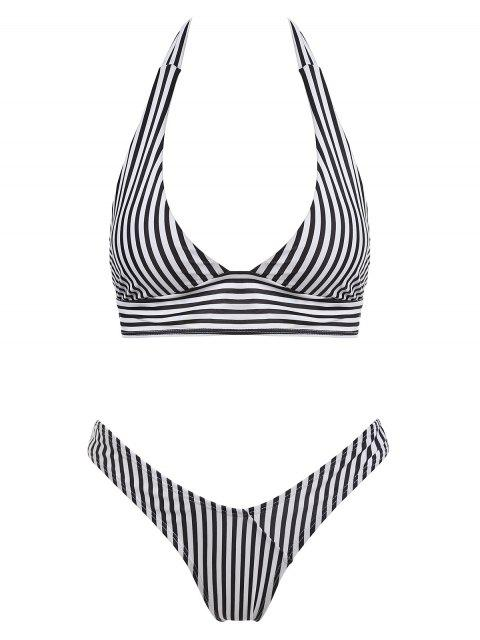 fashion Halter Striped High Cut Thong Bikini Set - BLACK S Mobile