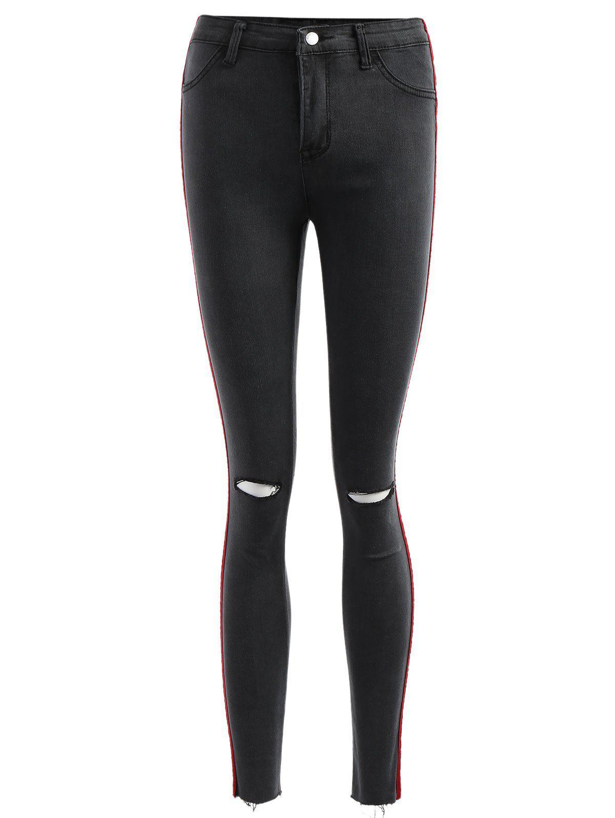 Velvet Panel Ripped Jeans 259017802