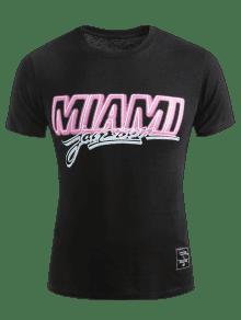 Manga Miami Corta Negro Camiseta M Z4qgOZw