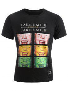 تيشيرت صيفي مزين بصور وجوه مبتسمة - أسود 2xl