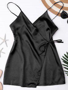 قميص نوم من الحرير بأربطة - أسود Xl