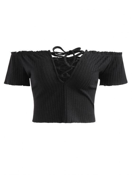 Geripptes Schulterfreies Schnürung Top - Schwarz XL