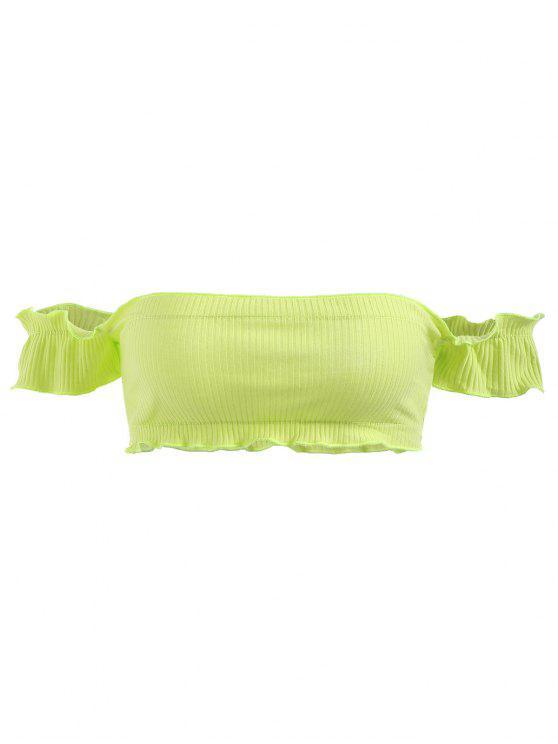 Haut Côtelé à épaules Dénudées - Vert Thé Taille Unique