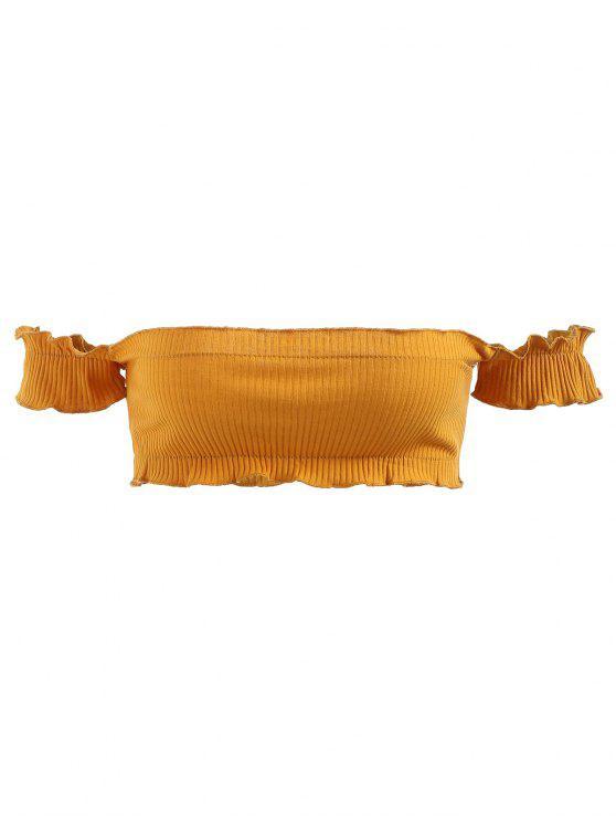 Haut Côtelé à épaules Dénudées - Brun Doré Taille Unique