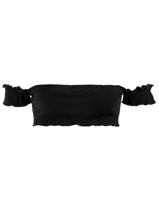 affordable Ribbed Off Shoulder Bralette Top - BLACK ONE SIZE