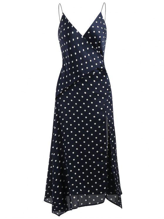 فستان البولكا نقطة انقسام ميدي - منتصف الليل الأزرق M