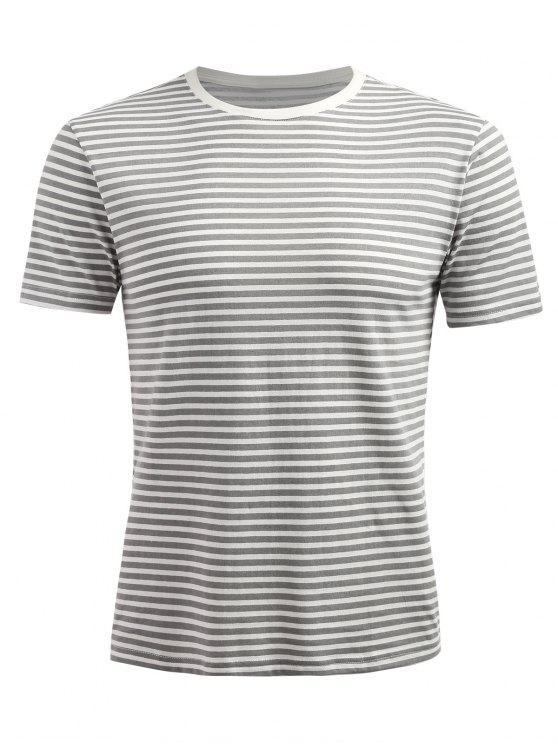 T-shirt Rayé à Manches Courtes - Gris fumée 2XL