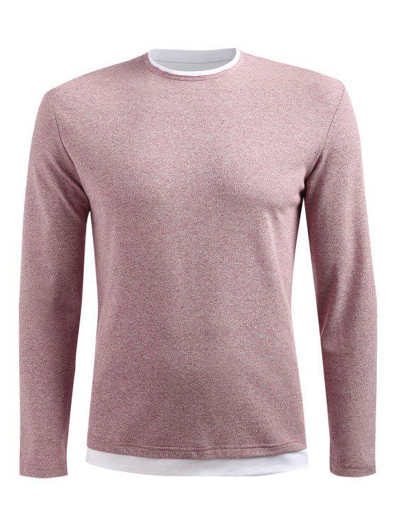 shops Long Sleeve Drop Shoulder T-shirt - LIGHT PINK 3XL