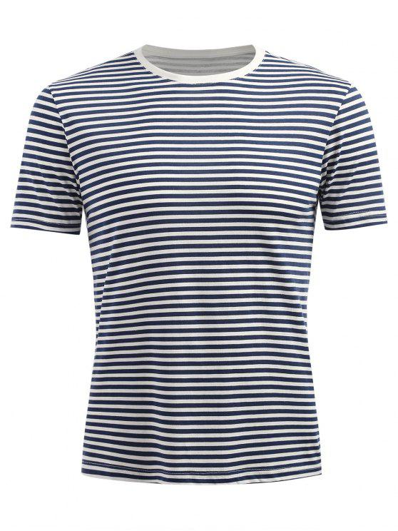 Kurzarm Streifen T-Shirt - Dunkles Schieferblau XL