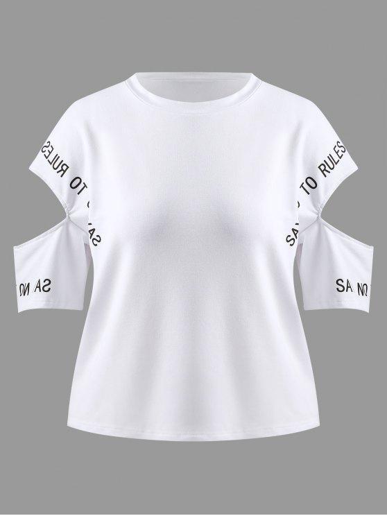 T-shirt Découpé Grande Taille à Slogan - Blanc 1X