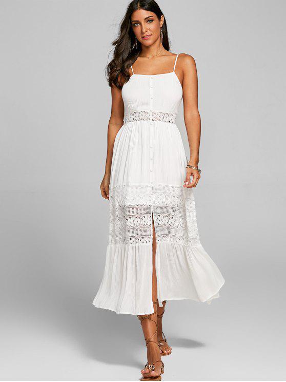 women Lace Panel Open Back Long Slip Dress - WHITE L