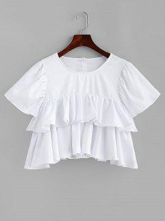 A Line Tiered Ruffles Crop Top - White M