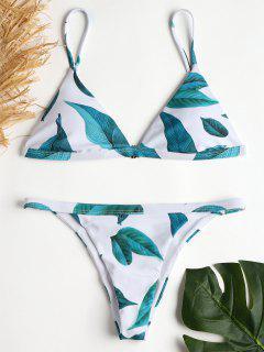 Blatt String Bikini Set - Weiß S