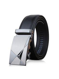 Stylish Triangle Shape Embellished Metal Buckle Black Wide Belt For Men - Black