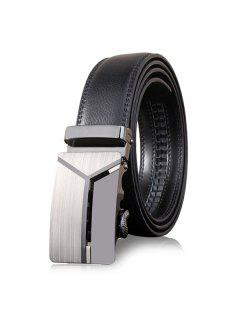 Stylish Polished 3D Y Shape Automatic Buckle Wide Belt - Deep Gray