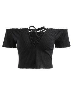 Ribbed Off Shoulder Lace Up Top - Black L