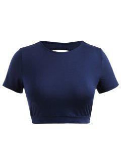 Cut Out Plus Size Cropped Jersey Tee - Navy Blue 2x