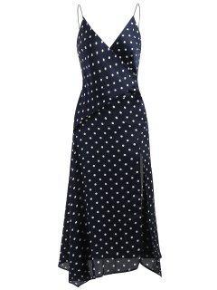 Polka Dot Slit Midi Dress - Midnight Blue L