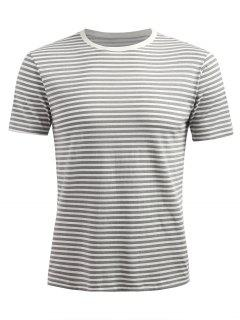 Short Sleeve Stripe T-shirt - Smokey Gray L