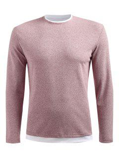 T-shirt Goutte Epaule à Manches Longues - Rose Léger  L