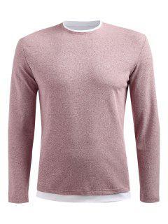 Long Sleeve Drop Shoulder T-shirt - Light Pink 2xl