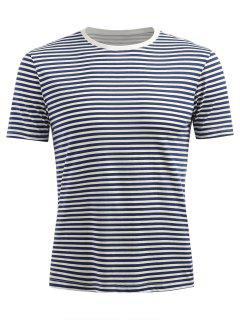 Short Sleeve Stripe T-shirt - Dark Slate Blue L