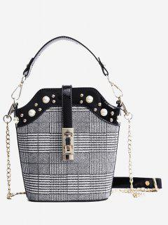 Studded Color Blocking Crossbody Bag - Black