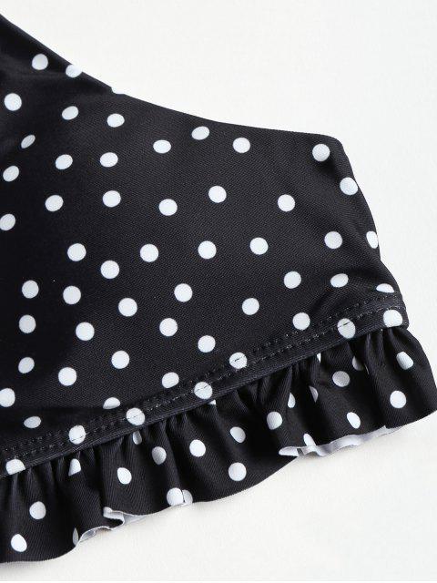 Cami Ruffles Polka Dot traje de baño - Negro S Mobile