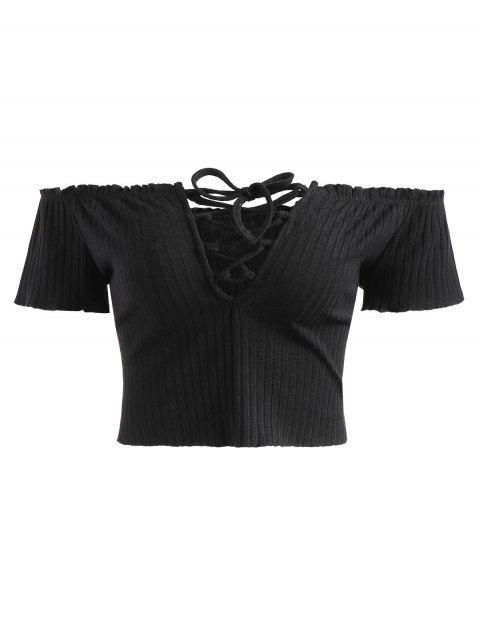 fashion Ribbed Off Shoulder Lace Up Top - BLACK XL Mobile