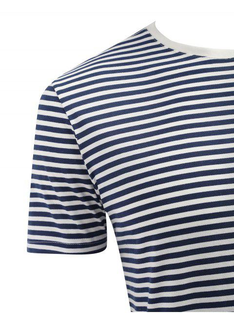 shop Short Sleeve Stripe T-shirt - DARK SLATE BLUE 3XL Mobile