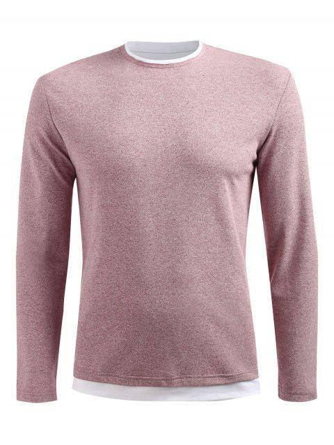 online Long Sleeve Drop Shoulder T-shirt - LIGHT PINK L Mobile