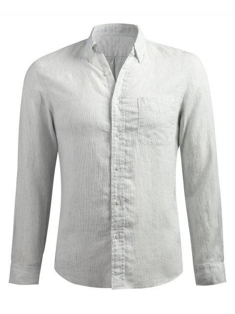 Camisa de manga larga y esbelta a rayas - Platino L Mobile