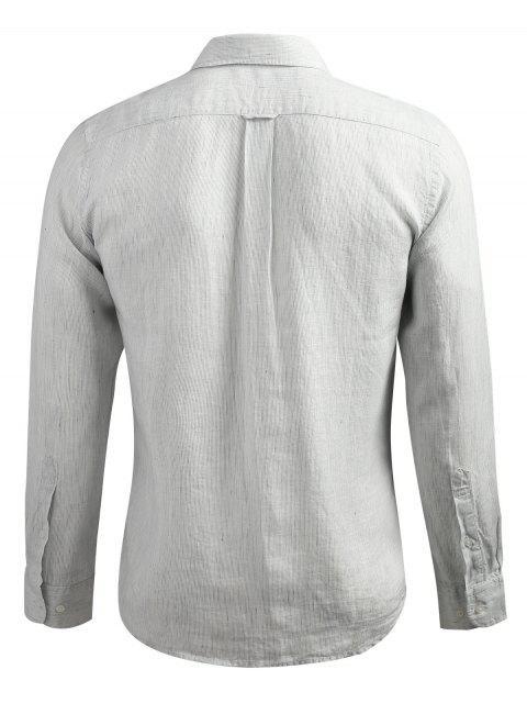 hot Long Sleeve Slender Stripe Shirt - PLATINUM XL Mobile