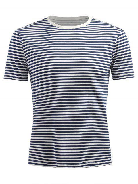 T-shirt Rayé à Manches Courtes - Ardoise bleue foncée XL Mobile