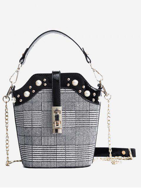 ladies Studded Color Blocking Crossbody Bag - BLACK  Mobile