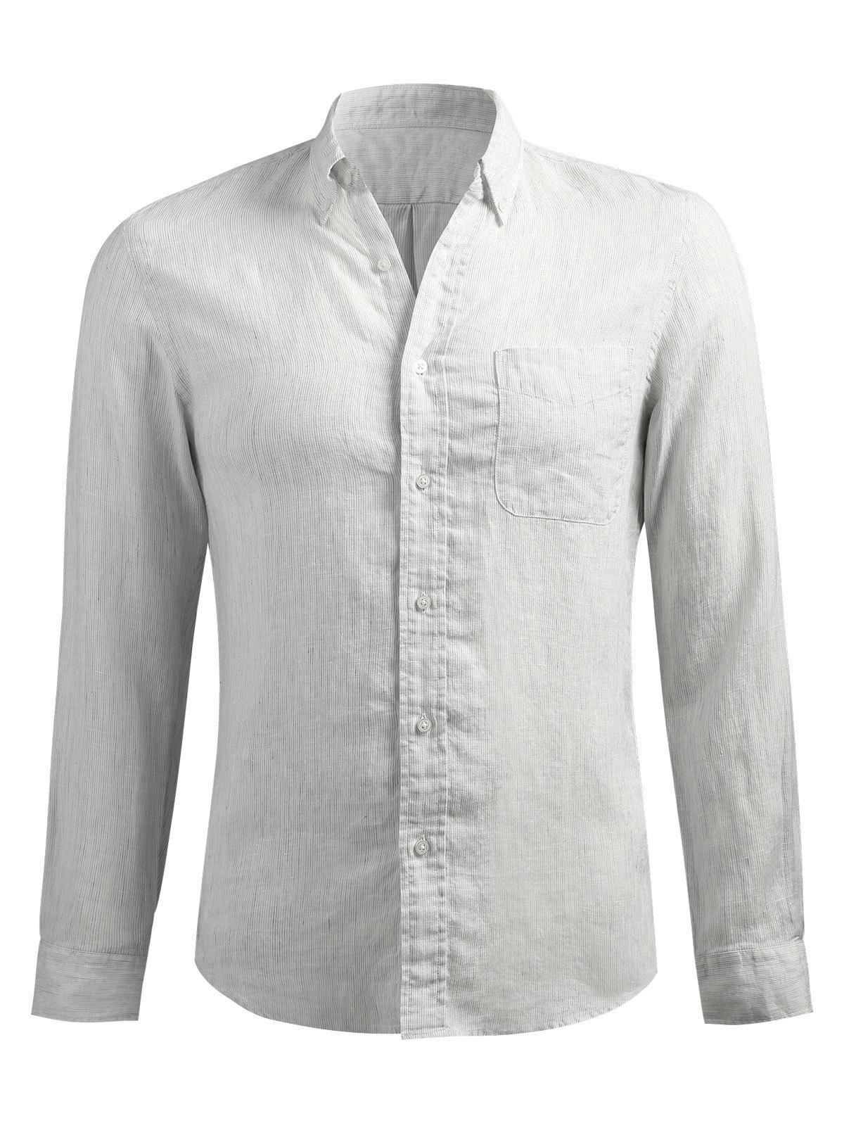 Long Sleeve Slender Stripe Shirt, Platinum