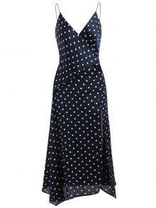 فستان البولكا نقطة انقسام ميدي - منتصف الليل الأزرق L